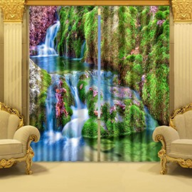 3D Mountain Stream and Trees Printed Wonderful Scenery Custom Curtain for Living Room