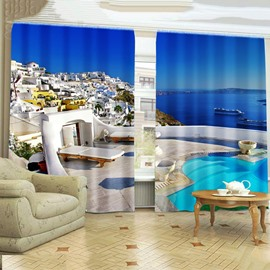 Sea Vacation Castles Scenery Printing Thick Polyester Living Room and Bedroom 3D Curtain