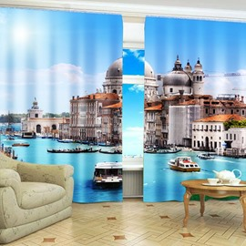 Top Selling Wonderful Castles in Seaside Printing 2 Panels Custom Blackout 3D Curtains
