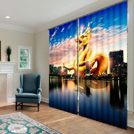 Huge Golden Dragon over the City Printing Decorative Custom 3D Curtain