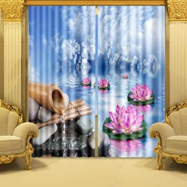 3D Wonderful Lotus Printed Thick Polyester Nature Scenery Blackout and Decorative Curtain
