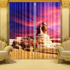 3D Fantastic Egyptian Sphinx Printed Thick Polyester Cotton 2 Panels Decorative Curtain