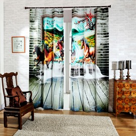 3D Running Horses in Picture Printed Decorative and Blackout Room Curtain