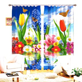 Various Colored Flower and Butterfly Printing 3D Curtain