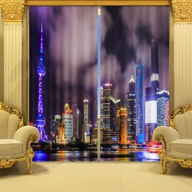 3D Pretty City Night Scene Printed 2 Panels Custom Curtains for Living Room