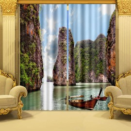 3D High Mountains and Peaceful Lake Printed Bedroom Window Decorative Curtain