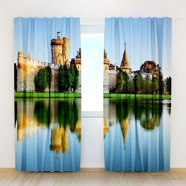 Castle Shadow In The Water Print 3D Curtain