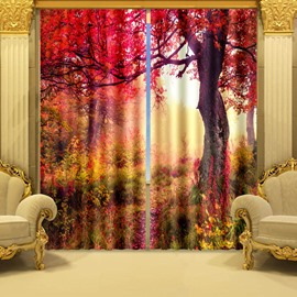 3D Beautiful Red Tree Printed Vibrant Color Natural Scenery Blackout and Decoration Curtain