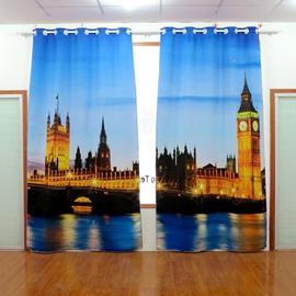 Amazing City Scene Printing Energy Saving Blackout 3D Curtain