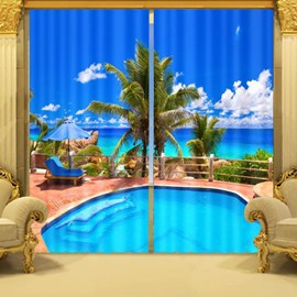3D Fantastic Swimming Pool and Palm Trees Printed Custom Living Room Curtain