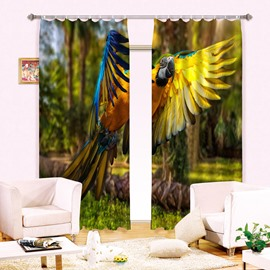 3D Vivid Flying Parrot Printed Thick Polyester Decorative and Shading Curtain