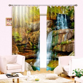 3D Flowing Water and Yellow Leaves Printed Vivid Autumn Scenery Custom Curtain