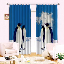 3D Lovely Penguins Printed Polyester Cotton Animals Style 2 Panels Decorative and Blackout Curtain