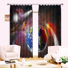 Illusional Firmament Earth Printing 3D Curtain