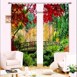 3D Wooden Bridge and Red Trees Nature Scenery Printed Thick Polyester Decorative Curtain