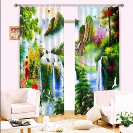 Mountains and River Peaceful Nature Scenery Printing 2 Panels Custom 3D Curtain