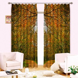 Two Symmetrical Yellow Trees and Leaves Printed Autumn Style Shading 3D Curtain
