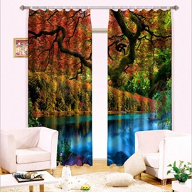 Two Pieces Red Leaves and Peaceful River Printing Wonderful Natural Scenery Decorative 3D Curtain