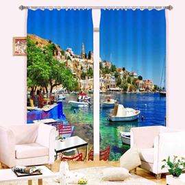 Wonderful Seaside City Scenery 3D Light Blocking and Energy Saving Custom Window Curtain
