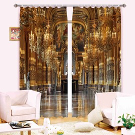 Decorative Golden Church with Sculpture 3D Printed Polyester Curtain