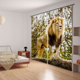 3D Vivid king of Lion Printed Thick Polyester Animal Scenery Dust-Proof Curtain