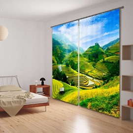 3D Green Terraced Fields Printed Pastoral Style Light Custom Energy Saving Curtain