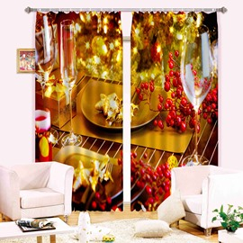 Romantic 3D Digital Printing Light Blocking Curtain