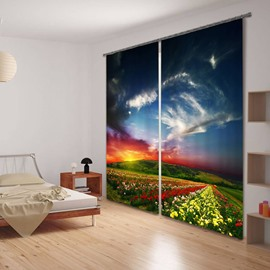 3D Sea of Flowers Scenery Printed Custom Living Room 3D Curtain