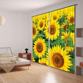 Refreshing Sunflowers 3D Digital Printing  Curtain