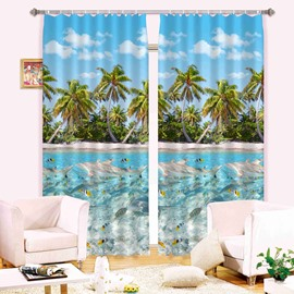 3D Dolphins and Palm Trees Summer Refreshing Beach Printed Blackout 3D Curtain