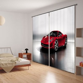 Red Fashion Sports Car Printing Polyester Decorative and Blackout 3D Curtain