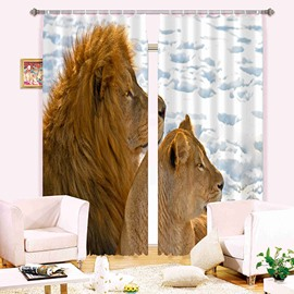 3D Lioness and Her Cub Printed Thick Polyester 2 Panels Shading and Decorative Curtain