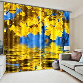Shining Golden Leaves Light Blocking 3D Curtain
