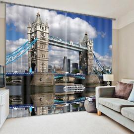 3D Famous London Tower Bridge Printed 2 Panels Decorative and Blackout Curtain