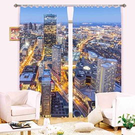 Modern City Scenery Print 3D Blackout Curtain