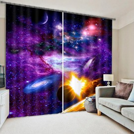 3D Splendid Galaxy and Stars Printed Polyester Dust-Proof Custom Living Room Curtain