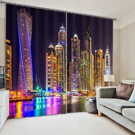 3D Wonderful City Night Scenery Printed Polyester Modern Style Dust-Proof and Blackout Curtain