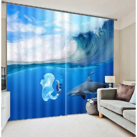 3D Mermaid and Dolphin under the Sea Printed Wonderful Blackout Curtain