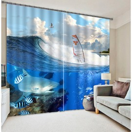 3D Fishes and Boats Printed Hot Selling Thick Polyester 2 Pieces Living Room Blackout Curtain