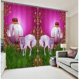 3D White Horses Carriage Printed Thick Polyester Creative Custom Curtain for Living Room