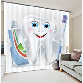 3D Funny Cartoon Tooth Man Printed 2 Panels Children's Room Blackout Curtain