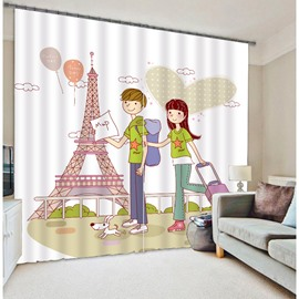 3D Cartoon Lovers Printed Romantic and Sweet Style 2 Pieces Decorative and Blackout Curtain