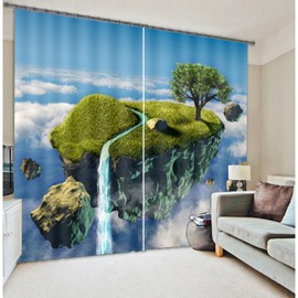 Top of Mountain with White Clouds High Quality Polyester 3D Scenery Blackout Curtain