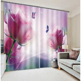 Pretty Pink Rose and Beautiful Purple Butterfly Printing Custom 3D Curtain for Living Room