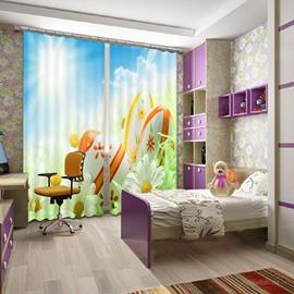 Wonderful 3D Flower Print Light Blocking Curtain