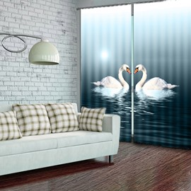 Two White Swans Swimming in the River 2 Pieces Decorative and Shading 3D Curtain