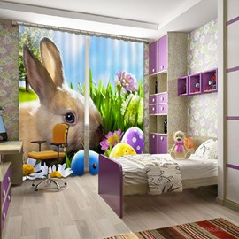 3D Lovely Rabbit and Flowers Printed Polyester Blackout Custom Curtain for Living Room