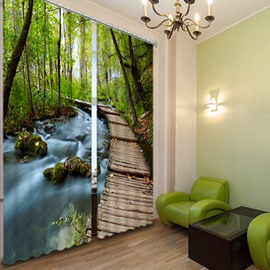 3D Forest and Secluded Trail Printed Natural Style Decoration Custom Curtain for Living Room