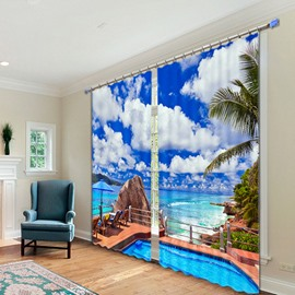 3D Sunny Day Scenery Polyester Blackout Curtain