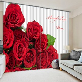 3D Red Roses Printed Polyester Cotton Romantic Style 2 Panels Custom Floral Curtain